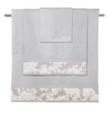 Πετσέτες Sylvie Silver-Old Pink  Σετ 3 τμχ (30x50-50x90-70x140)
