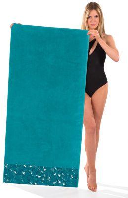 Πετσέτα Θαλάσσης-Ξαπλώστρας Velour-Jacquard 5 Petrol 75x175