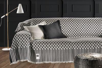 Ριχτάρι τριθέσιου καναπέ KYLIM BLACK-WHITE 300x180