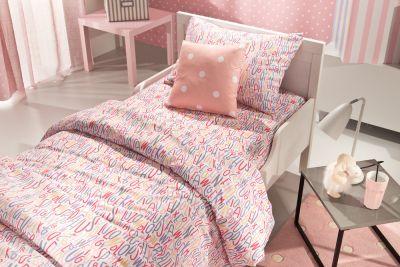 Σετ Σεντόνια 3 τεμαχίων Letters Pink 160x250