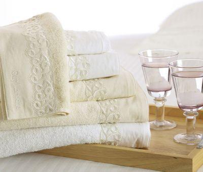 Πετσέτες Pristine Ivory 30x50-50x100-70x140 Σετ 3 τεμαχίων